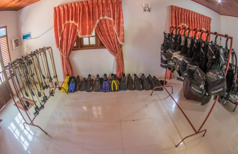scuba diving equipment used by polhena diving center